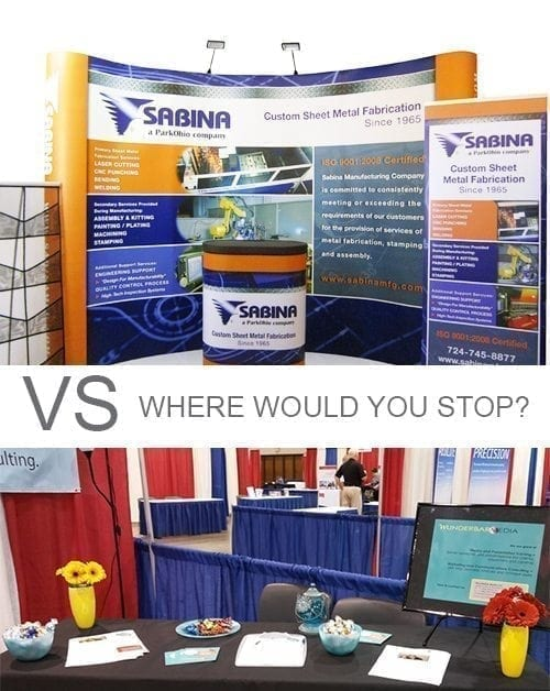 boring table vs tradeshow booth